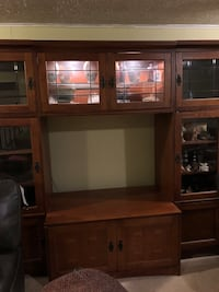 brown wooden TV hutch with flat screen television Woodbridge, 22192
