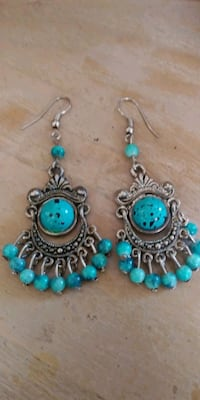pair of blue-and-silver-colored earrings Hialeah, 33010