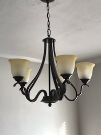 black framed frosted glass ceiling lamp