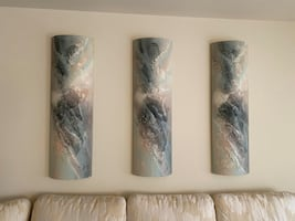 3 southwestern style abstract circular cylinder art