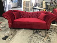 red fabric sofa with throw pillows Mississauga, L5S