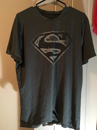 Black and gray superman logo printed crew-neck t-shirt