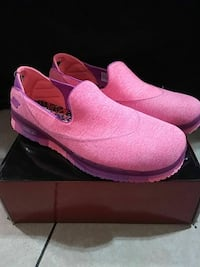 pair of pink-and-purple slip-on shoes