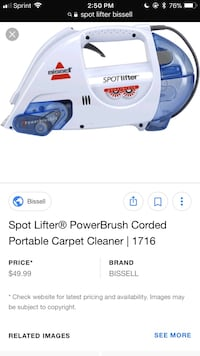 white and blue Bissell Spot Lifter portable carpet cleaner screenshot