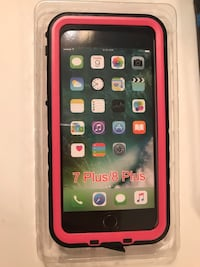 Waterproof case for iphone 7/8 plus (Pink) New in  Box