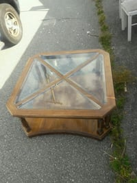 square brown wooden framed glass top coffee table Vancouver, V6M