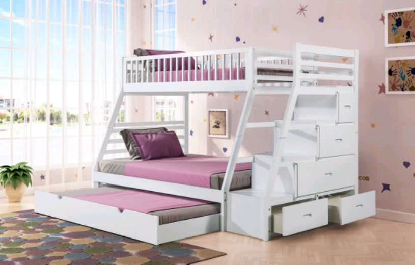 Photo Twin over Full Staircase Bunk Bed with Trundle (White)