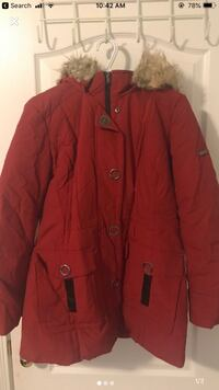 Red zip up parka