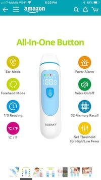 TEIBAKY Thermometer for Fever Forehead and Ear Thermometer Baby Gaithersburg, 20878