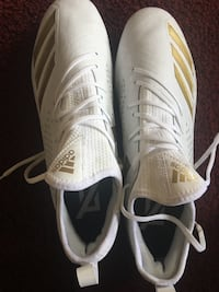 White and Gold Adidas football cleats 2260 mi
