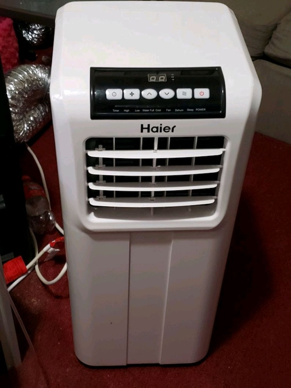 white and gray Haier portable AC unit