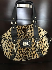 black and white leopard print leather tote bag Foster City