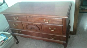 Cedar Hope Chest on legs with a drawer.
