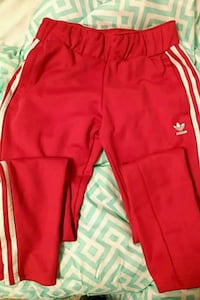 red and white Adidas track pants Bradenton