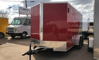 Cargo trailer 7x14 silver and red