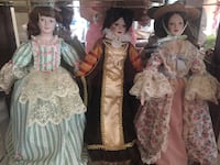 Six Porcelain dolls from Hamilton Collection. Each represents a country. Excellent condition