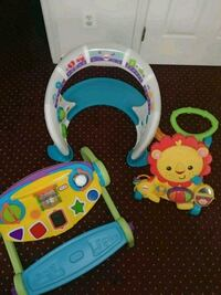 baby's white and blue activity walker 9 mi