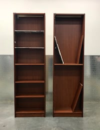 Beautiful Pair of Brown Wooden Display Shelves / Bookcases (w/ overhead light & 2 glass shelves per) Washington, 20002