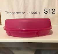 ****     Tupperware 1666-1 ~ Pink Condiment Tray Dipping Bowl  Asheville