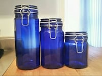 Blue glass containers