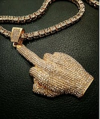 Finger ice out gold tone crystal diamond chain