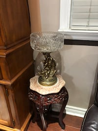 Vintage Italy high quality pinwheel crystal brass base collective item , 24 cm diameter, 39 cm high and the marble top, wooden hand carved corner table . $95 each item  Hamilton, L9A 1T3