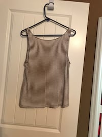 Brown and white stripe tank top