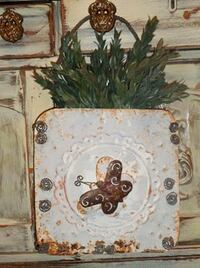Chippy Vintage Metal Tile Wall Pocket with Greenery