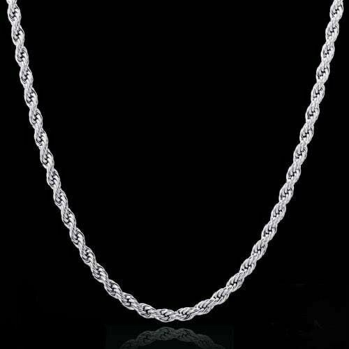 "SOLID UNISEX STERLING SILVER ROPE CHAIN 24"" 4"