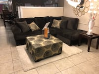 black suede sectional couch with throw pillows Houston, 77084