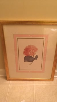 Brown wooden framed painting of red flower Greensboro, 27405