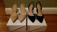 two pairs of brown and black leather heeled sandals Toronto, M3L 1M4