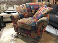 Blue, red, and white fabric sofa chair East Gwillimbury, L9N 0S8