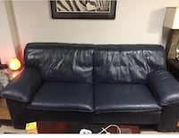 Navy blue leather 2-seat sofa