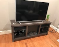 Gray TV STAND with Fireplace