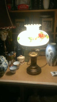 brown, red, yellow, and white table lamp