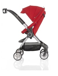 red and gray stroller