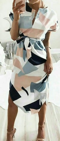 women's white, brown and black printed dress Toronto