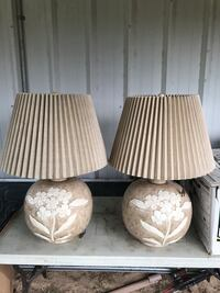 Matching pair huge glass lamps with lampshades 2 1/2 feet tall Macon, 31216