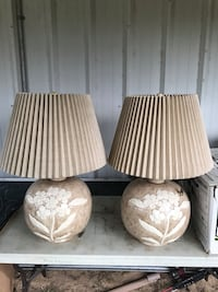 Matching pair huge glass lamps with lampshades 2 1/2 feet tall