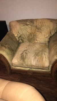 brown and beige floral fabric sofa chair Deer Park, 77571