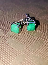 Elegant Pearly Green Emerald & Silver Vintage Earring Set  Woodbridge, 22192
