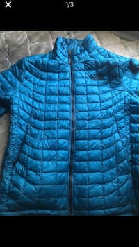 blue zip-up bubble jacket 75 km
