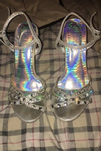 Silver high heels with diamonds Pickering