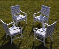 4 chairs blue and white newly upholstered and fiished Minooka, 60447