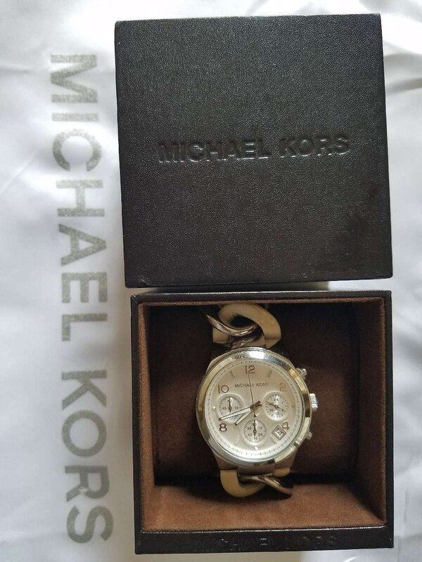 Round Silver Michael Kors Chronograph Watch In Box