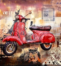 Vintage 3D Metal Scooter Painting Richmond, V6Y 4K9