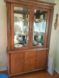 Solid walnut wood hutch display case