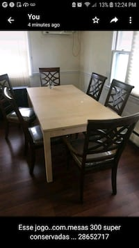 rectangular brown wooden table with six chairs dining set Rumson, 07760