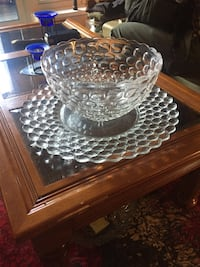 Large glass bowl and platter